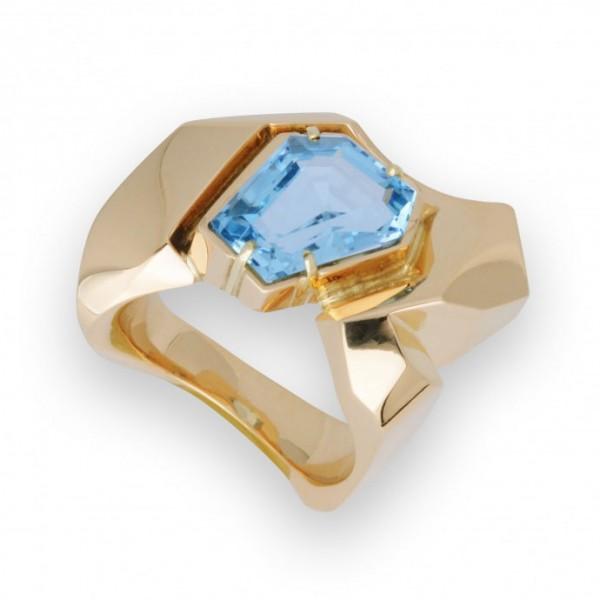 aquamarijn ring met eigen goud